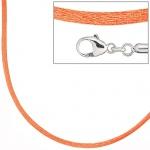 Collier Halskette Seide orange 42 cm, Verschluss 925 Silber Kette