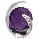 Anhänger 585 Gold Weißgold 1 Amethyst lila violett 5 Diamanten Brillanten 0, 02ct