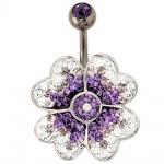 Bauchnabel Piercing Blume 925 Silber mit Swarovski-Elements Stab und Kugel Titan