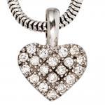 Anhänger Herz 585 Gold Weißgold 19 Diamanten Brillanten Diamantenanhänger