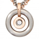 Collier Kette mit Anhänger rund Edelstahl und Swarovski-Element 42 cm Halskette