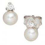 Ohrstecker 925 Sterling Silber 2 Süßwasser Perlen 2 Zirkonia Ohrringe