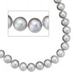 Collier Perlenkette Süßwasser Perlen grau 45 cm Halskette Kette