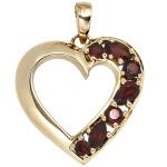 Anhänger Herz 585 Gold Gelbgold 7 Granate rot Herzanhänger