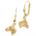 Kinder Boutons Pferdeköpfe Pferde 333 Gold Gelbgold Ohrringe Ohrhänger