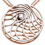 Collier Kette mit Anhänger 585 Gold Rotgold Weißgold 1 Diamant Brillant 42 cm