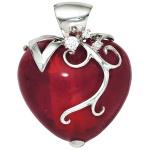 Anhänger Herz rotes Glas mit 925 Sterling Silber und Zirkonia Herzanhänger
