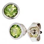 Ohrstecker rund 925 Sterling Silber rhodiniert 2 Peridote grün Ohrringe