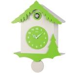 AMS 7389 Kuckucksuhr Wanduhr Quarz mit Pendel modern weiß grün hellgrün