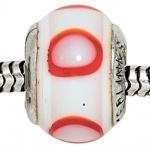 Anhänger Bead 925 Sterling Silber rhodiniert rot weiß