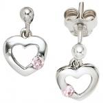 Kinder Ohrhänger Herz 925 Silber 2 Zirkonia rosa rosé Ohrstecker Ohrringe