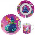 TROLLS Kinder Frühstücks-Set 3-teilig aus Keramik Kindergeschirr lila violett
