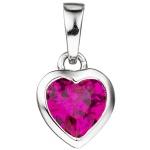 Kinder Anhänger Herz 925 Silber 1 Zirkonia pink Herzanhänger Kinderanhänger