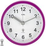 AMS 5924 Wanduhr Tischuhr Baduhr Badezimmeruhr Funk lila violett wasserdicht