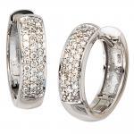 Creolen rund 585 Gold Weißgold 50 Diamanten Brillanten Ohrringe Weißgoldcreolen