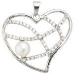 Anhänger Herz 925 Sterling Silber 1 Süßwasser Perle mit Zirkonia Perlenanhänger
