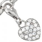 Einhänger Charm Herz 925 Sterling Silber rhodiniert mit Zirkonia