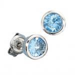 Ohrstecker rund 925 Sterling Silber rhodiniert 2 Zirkonia hellblau blau Ohrringe