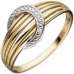 Damen Ring 585 Gold Gelbgold bicolor 4 Diamanten Brillanten Goldring Diamantring