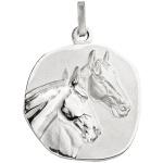 Anhänger Pferde Pferdeköpfe 925 Sterling Silber matt mattiert Silberanhänger