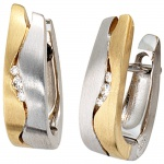 Creolen 585 Gold Weißgold Gelbgold bicolor matt 6 Diamanten Brillanten Ohrringe