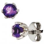 Ohrstecker rund 925 Sterling Silber rhodiniert 2 Amethyste lila violett Ohrringe