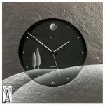Vaerst 2656 Wanduhr Funk Naturschiefer Airbrush Design silber Motiv Toskana