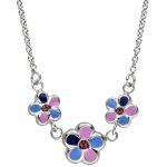 Kinder Collier Halskette Blumen 925 Sterling Silber 37 cm Kette Kinderkette
