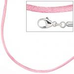 Collier Halskette Seide rosé 42 cm, Verschluss 925 Silber Kette