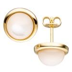 Ohrstecker rund 585 Gold Gelbgold 2 Perlmutt-Steine Ohrringe Goldohrringe