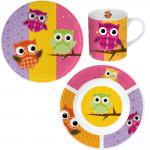 Eulen Kinder Frühstücks-Set 3-teilig aus Keramik Kindergeschirr