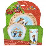LEO LAUSEMAUS Kinder Frühstücks-Set 3-teilig aus Melamin Kindergeschirr