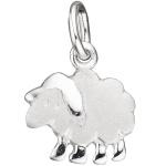 Kinder Anhänger Schaf 925 Sterling Silber rhodiniert mattiert Kinderanhänger