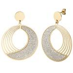 Ohrhänger rund aus Edelstahl gold farben beschichtet mit Glitzer-Effekt Ohrringe