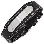 Armband Leder schwarz mit Edelstahl 20 cm Lederarmband breit
