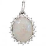Anhänger oval 585 Gold Weißgold 1 Opal 18 Diamanten Brillanten 0, 10ct.