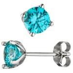 Ohrstecker 925 Sterling Silber 2 Zirkonia türkis hellblau blau Ohrringe