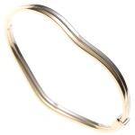 Armreif Armband oval 585 Gold Gelbgold Weißgold bicolor mit Struktur