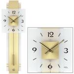 AMS 7301 Wanduhr Quarz mit Pendel golden Pendeluhr mit Messing und Glas