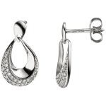 Ohrhänger Tropfen 585 Gold Weißgold 38 Diamanten Brillanten Ohrringe