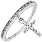 Damen Ring mit Kreuz 925 Sterling Silber mit Zirkonia Silberring Kreuzring