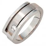 Damen Ring 950 Platin matt 1 Diamant Brillant 0, 10ct. Platinring