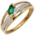 Damen Ring 585 Gold Gelbgold bicolor 1 Smaragd grün2 Diamanten 0, 01ct. Goldring