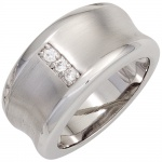 Damen Ring breit 925 Sterling Silber rhodiniert mattiert 3 Zirkonia Silberring
