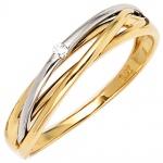 Damen Ring 585 Gold Gelbgold Weißgold bicolor 1 Diamant Brillant 0, 02ct.