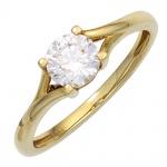 Damen Ring 333 Gold Gelbgold 1 Zirkonia Goldring