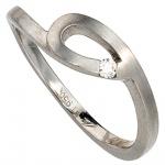 Damen Ring 950 Platin matt 1 Diamant Brillant 0, 04ct. Platinring