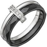 Damen Ring 925 Sterling Silber mit Zirkonia und Keramik schwarz Keramikring