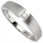 Damen Ring 585 Gold Weißgold matt 1 Diamant Brillant 0, 05ct. Weißgoldring