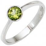 Damen Ring 925 Sterling Silber rhodiniert 1 Peridot grün Silberring
